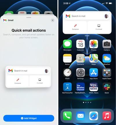gmail widget ios 14