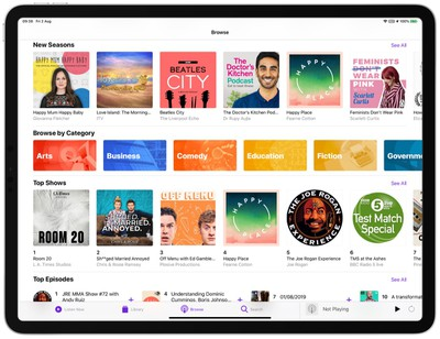 podcasts app categories