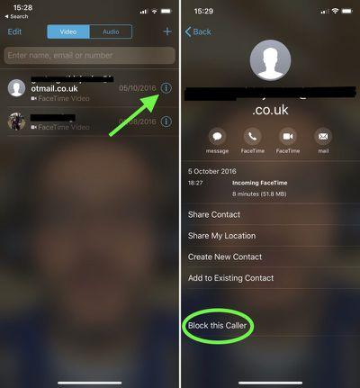 block facetime call iphone