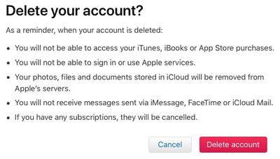 delete account red button