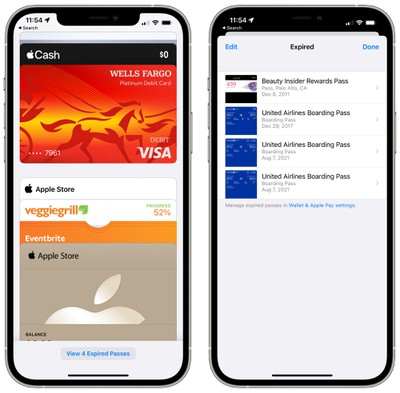 wallet app expired passes ios 15