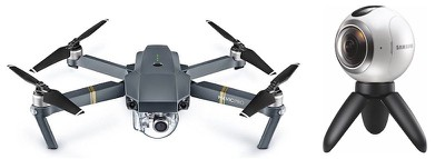drone and 360 degree camera