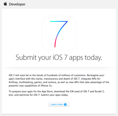 Submit Your iOS 7 Apps Today