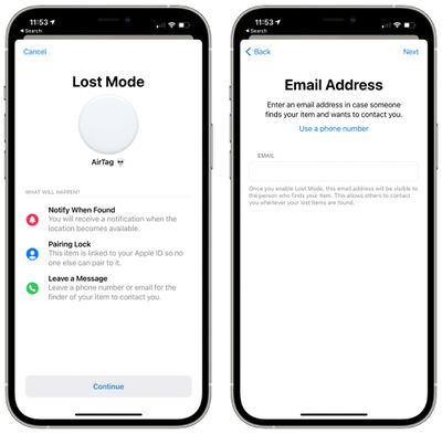 airtag lost mode email address