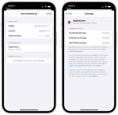 apple support coverage details