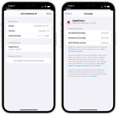 detalles de la cobertura de soporte de Apple