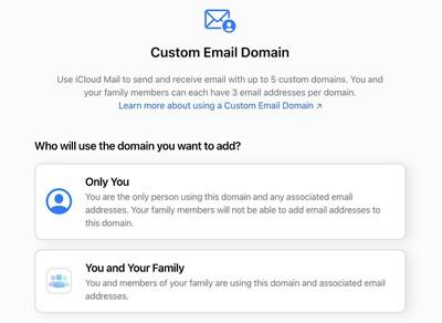 icloud custom mail domain
