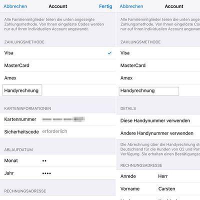 O2 Carrier Billing iTunes