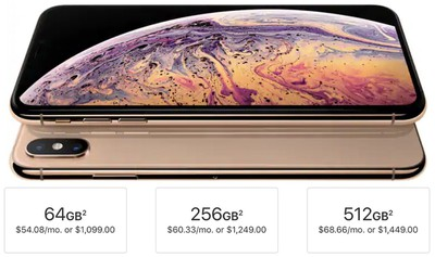 iphone xs storage tiers