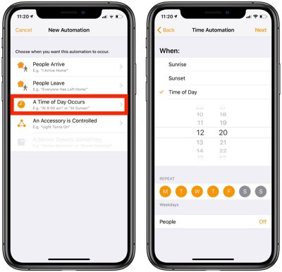 create homekit automations based on time of day