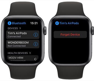 Unpair AirPods Apple Watch