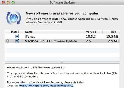 macbook pro efi firmware update 2 5