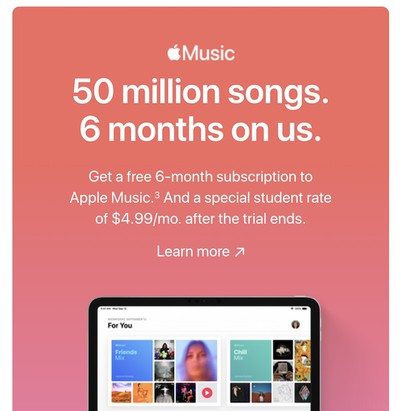 apple music six month student trial