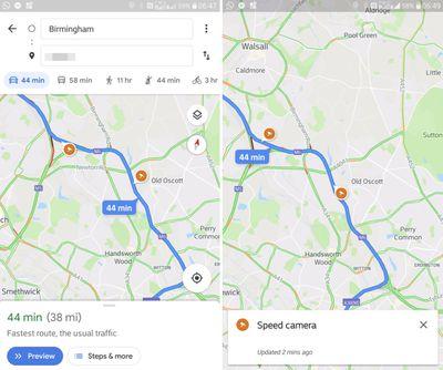 google maps speed traps