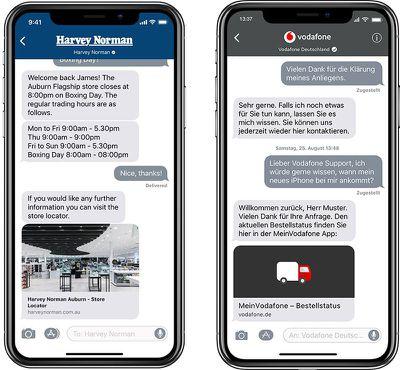 apple business chat harvey norman vodafone 800