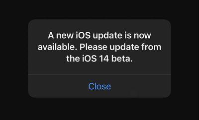 ios 14 beta pop up