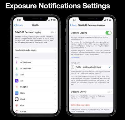 covid 19 exposure app settings