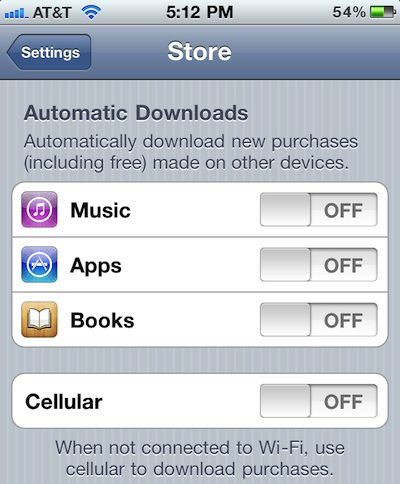 ios automatic downloads