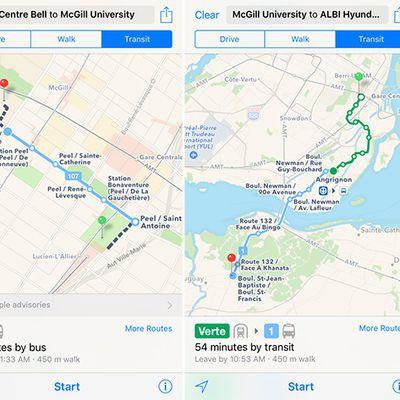 Apple Maps Montreal Transit