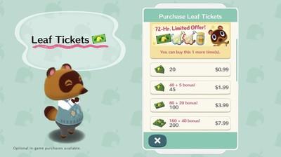 animal crossing leaf tickets