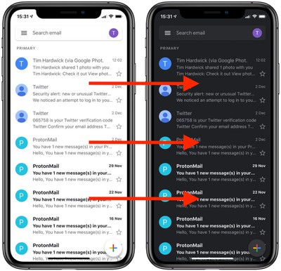 gmail app dark mode