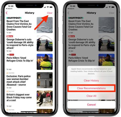 how to clear apple news recommendations