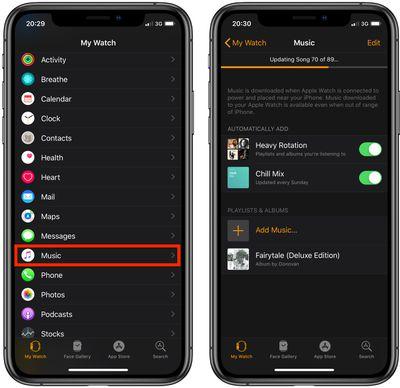 Sync Apple Music tracks to Apple Watch