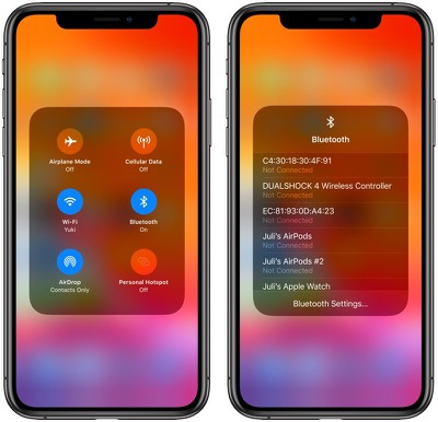 iOS 13 Bluetooth options