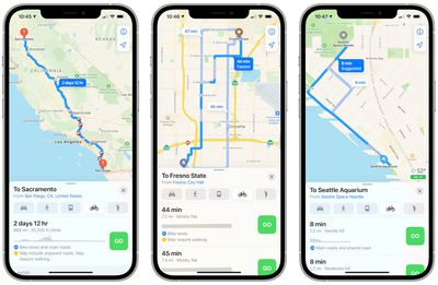 apple maps cycling directions trio