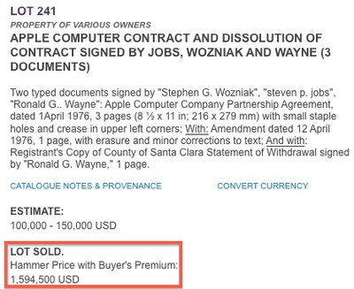 apple documents sold
