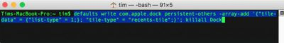 recent apps stack dock terminal command