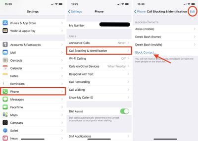 manage blocked numbers iphone