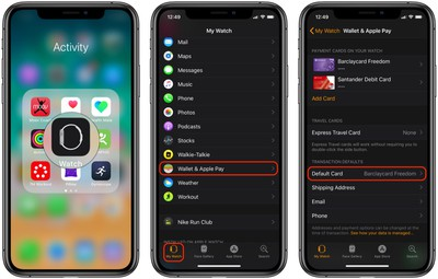 make apple card default card on apple watch