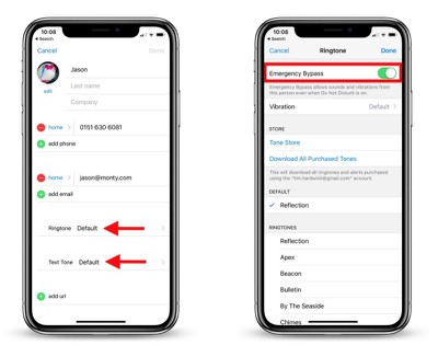 how to enable contacts bypass do not disturb 2