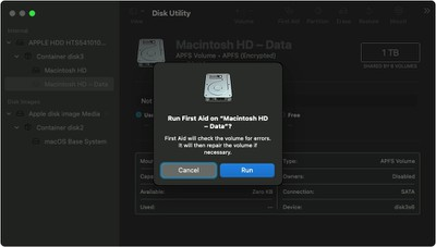 macos big sur recovery mode disk utility data volume first aid