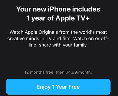 1 year free apple tv plus sub