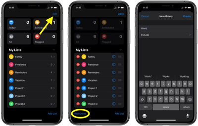 how to create reminders group ios 1