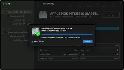 macos big sur recovery mode disk utility disk first aid complete