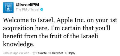 netanyahu apple welcome