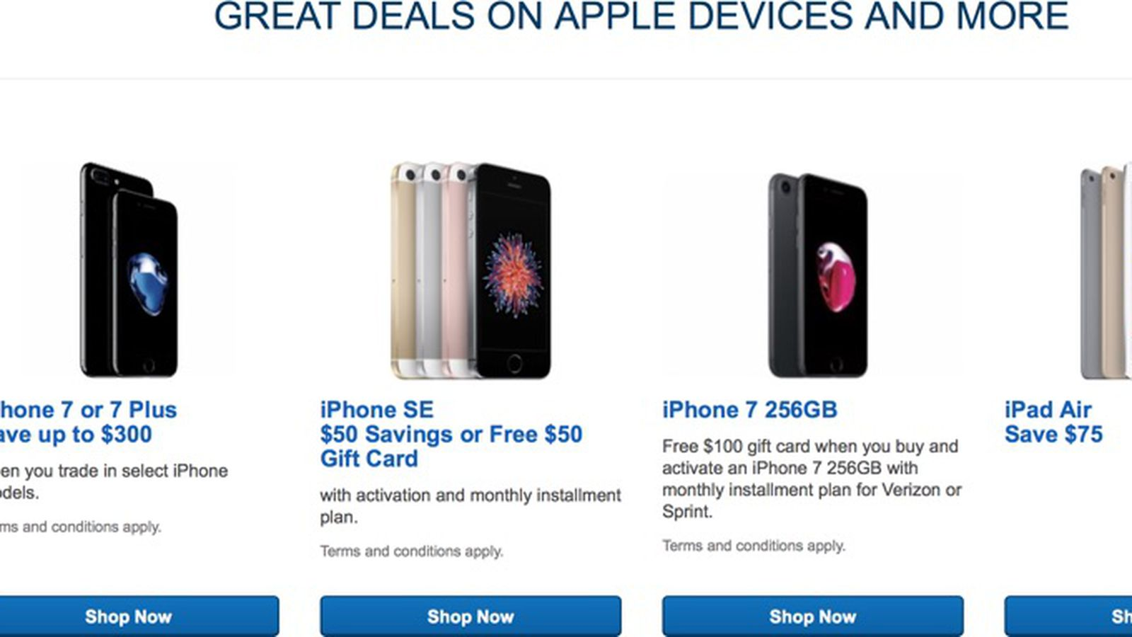 Best Buy Discounts Ipad Air 2 By 75 Offers Deals On Iphone 7 And Iphone Se Macrumors
