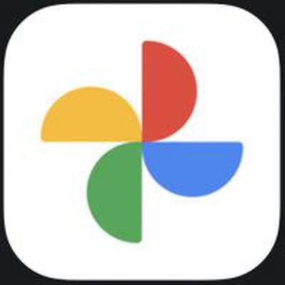 google photos new icon black background