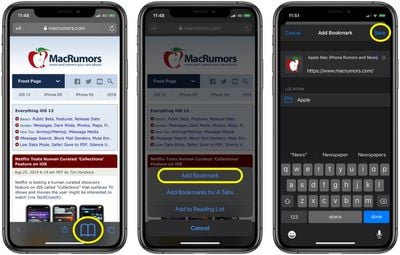 how to bookmark a site in safari ios