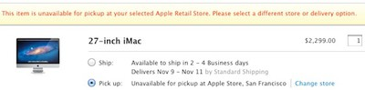 apple in store pickup unavailable