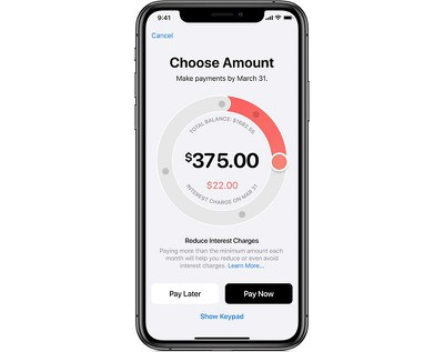 Interface showing interest rates for payments