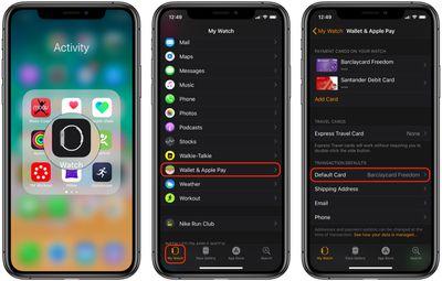 make apple card default card on apple watch
