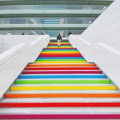 apple park rainbow stairs