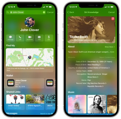 ios 15 rich results contacts siri