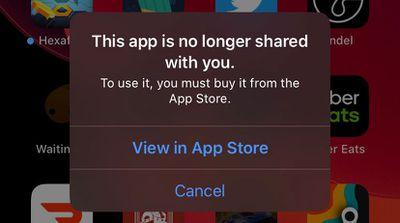 app no longer shared error dialog