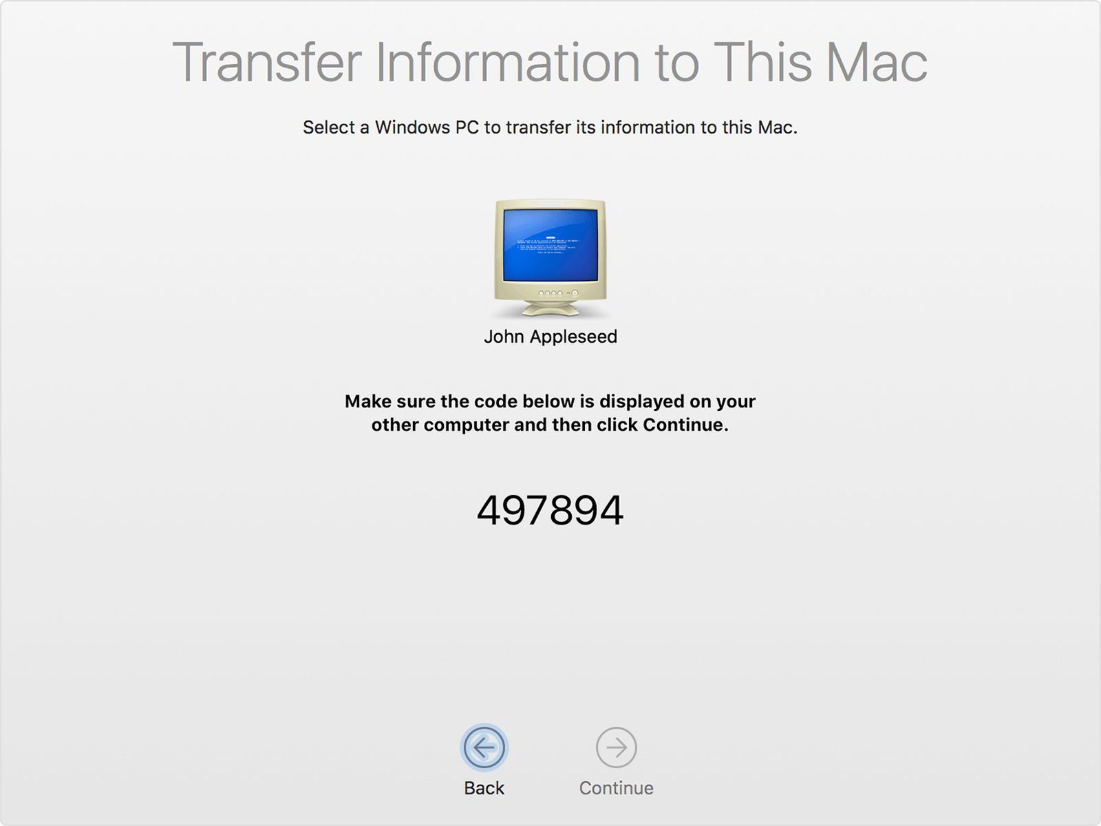 macos sierra migration assistant from windows pc code.'