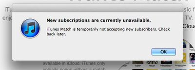 itunes match subscriptions down